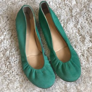 J. Crew Ballet Flats Suede Shade of Blue Green 8m